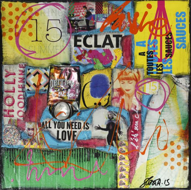 collage, multicolore,  Tableau Contemporain, Spring Summer 15. Sophie Costa, artiste peintre.