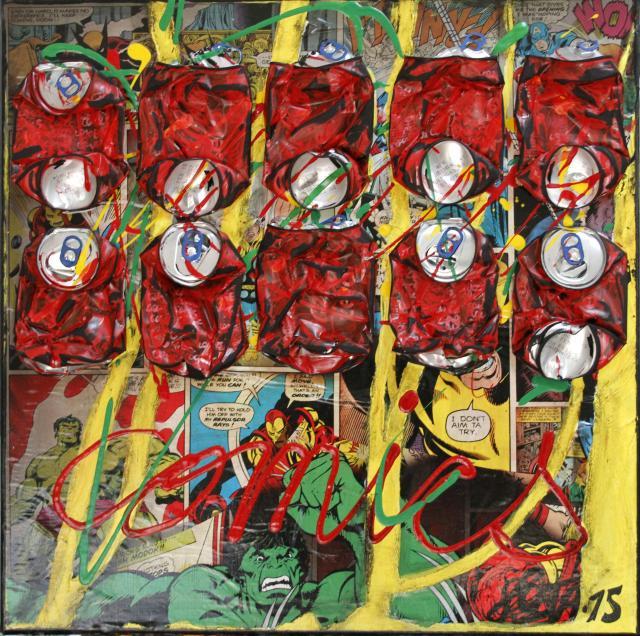 multicolore, collage, comics canettes compressées Tableau Contemporain, COMICS COKE. Sophie Costa, artiste peintre.