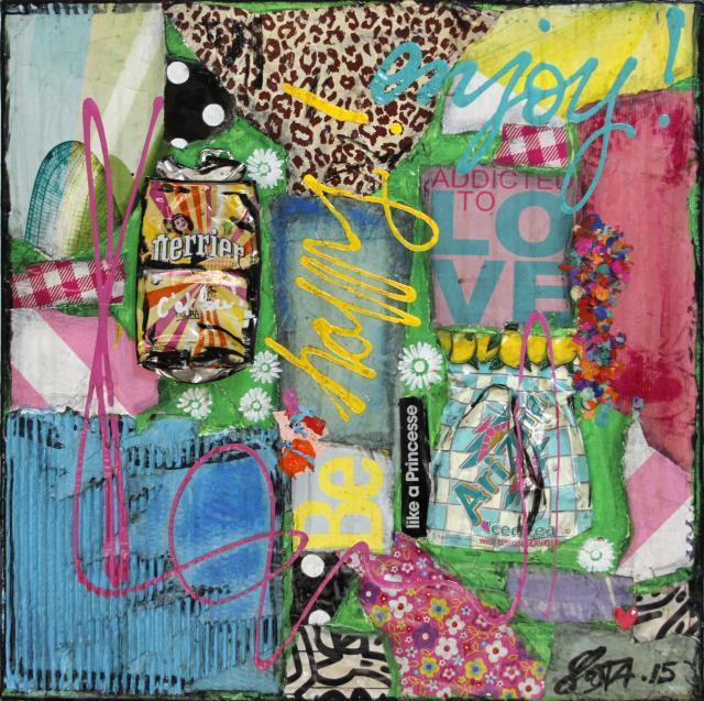 multicolore, collage Tableau Contemporain, Be Happy !. Sophie Costa, artiste peintre.