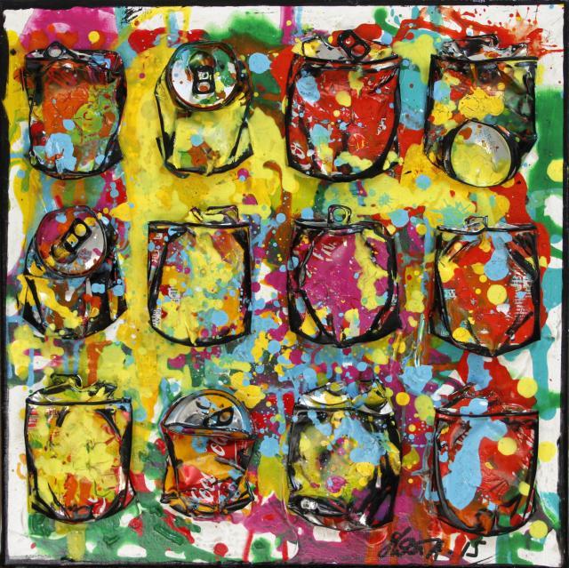 canettes compressées, multicolore, collage Tableau Contemporain, SPLASH !. Sophie Costa, artiste peintre.