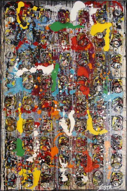 canettes compressées, collage, multicolore Tableau Contemporain, REBOND. Sophie Costa, artiste peintre.