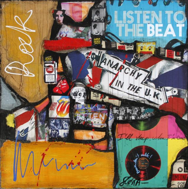 collage, multicolore, rock, musique Tableau Contemporain, ROCK. Sophie Costa, artiste peintre.