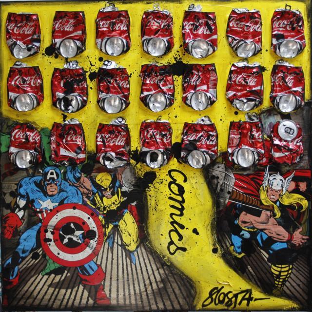 canettes compressées, comics, multicolore Tableau Contemporain, COMICS COKE. Sophie Costa, artiste peintre.