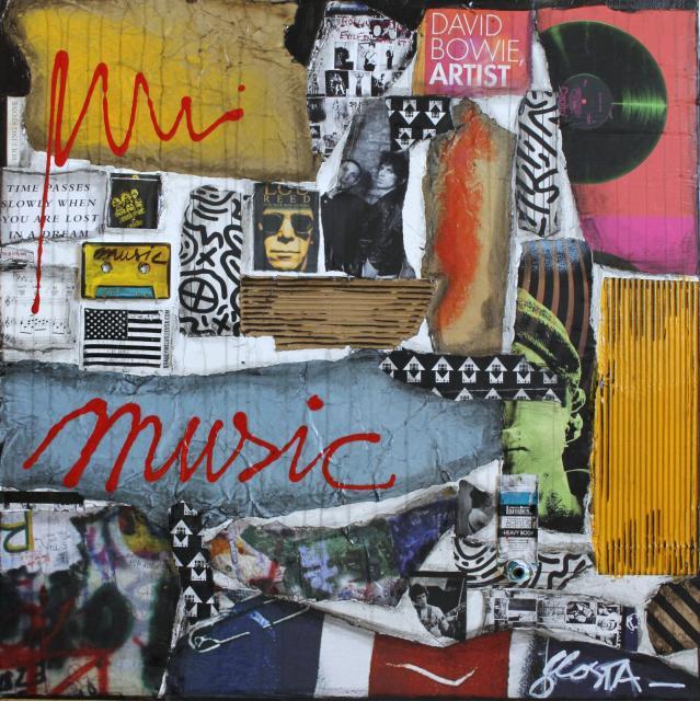 collage, musique, multicolore Tableau Contemporain, MUSIC !. Sophie Costa, artiste peintre.