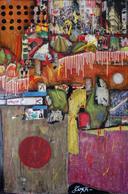 collage/multicolore/japon Tableau Contemporain, JAPAN. Sophie Costa, artiste peintre.