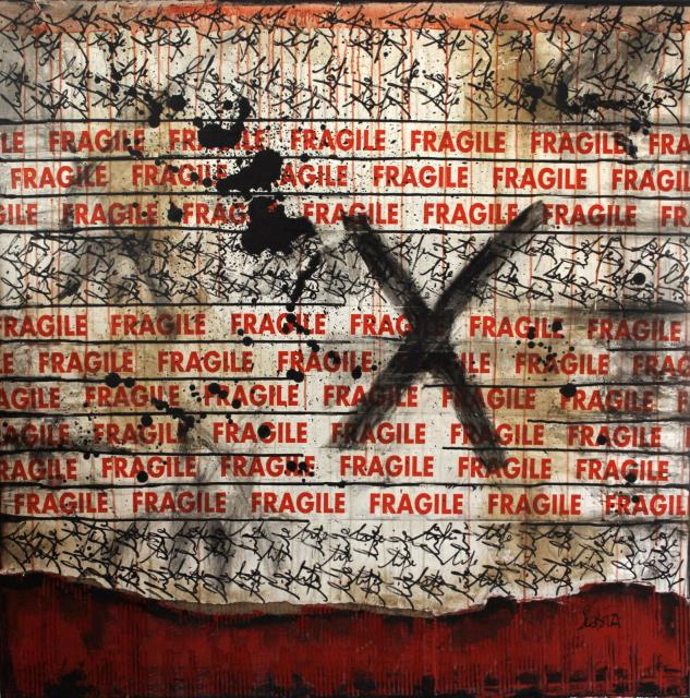 collage, scotch Tableau Contemporain, FRAGILE. Sophie Costa, artiste peintre.