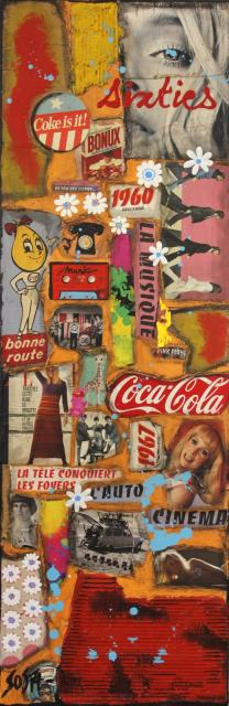 collage, multicolore Tableau Contemporain, SIXTIES. Sophie Costa, artiste peintre.