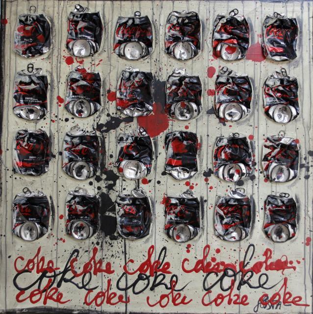 coca, collage Tableau Contemporain, COKE-COKE. Sophie Costa, artiste peintre.