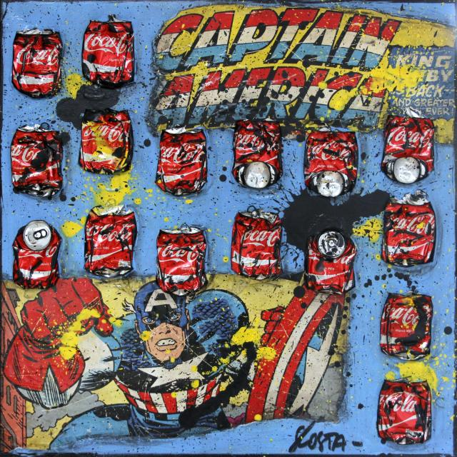 comics, collage Tableau Contemporain, CAPTAIN AMERICA. Sophie Costa, artiste peintre.