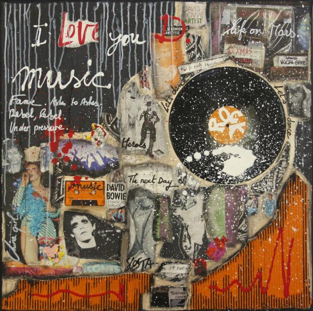 collage, musique, multicolore, david Bowie Tableau Contemporain, I LOVE YOU D.. Sophie Costa, artiste peintre.