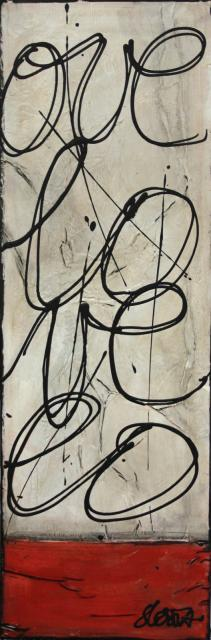 collage, love Tableau Contemporain, L O V E 3. Sophie Costa, artiste peintre.