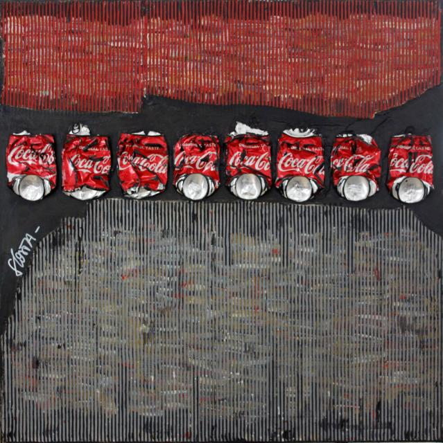 coca, carton, collage Tableau Contemporain, Waste Art 3. Sophie Costa, artiste peintre.