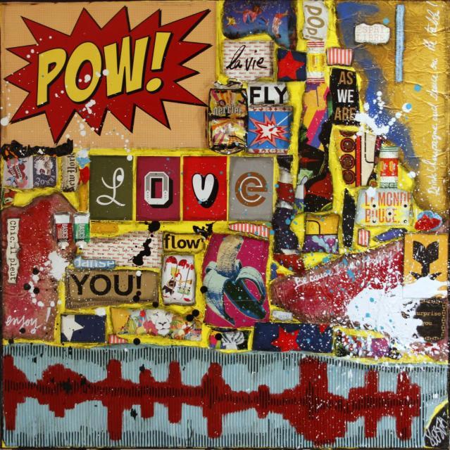 collage, multicolore, energie Tableau Contemporain, POW. Sophie Costa, artiste peintre.