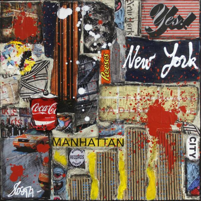 collage, new york Tableau Contemporain,  Yes New York !. Sophie Costa, artiste peintre.