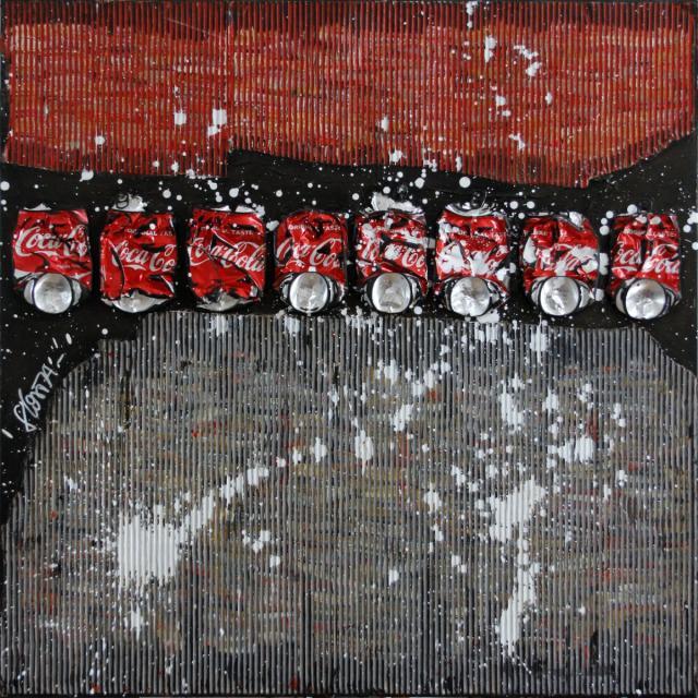 coca, carton, collage Tableau Contemporain, Waste Art 3. Sophie Costa, artiste peintre.