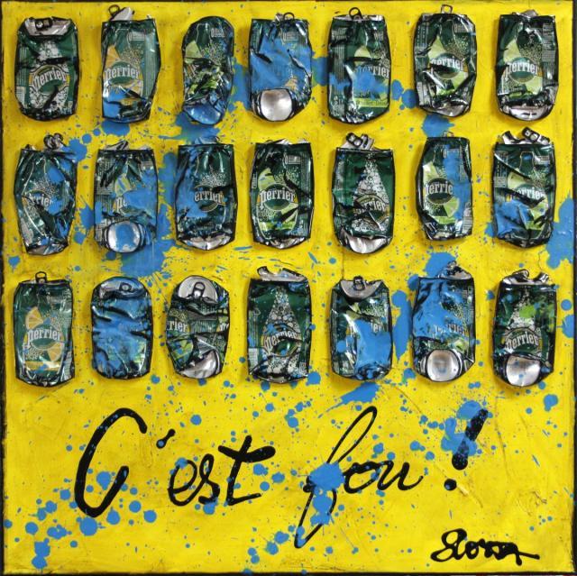 collage, canette, perrier Tableau Contemporain, C'est fou !. Sophie Costa, artiste peintre.