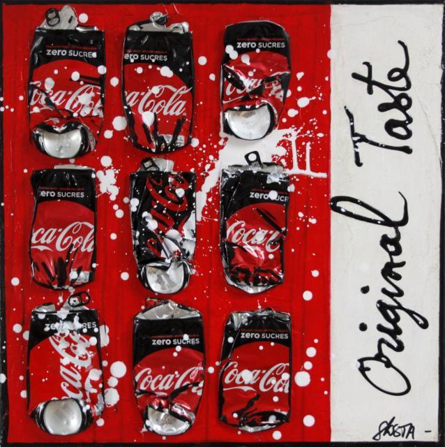 coca cola, collage, canettes compressées, upcycling Tableau Contemporain, Original Taste. Sophie Costa, artiste peintre.