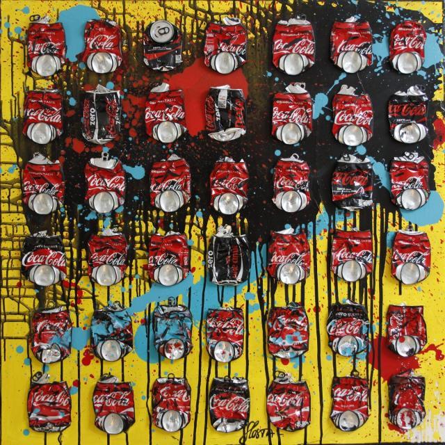 collage, cocacola, multicolore Tableau Contemporain, Atomic Coke. Sophie Costa, artiste peintre.