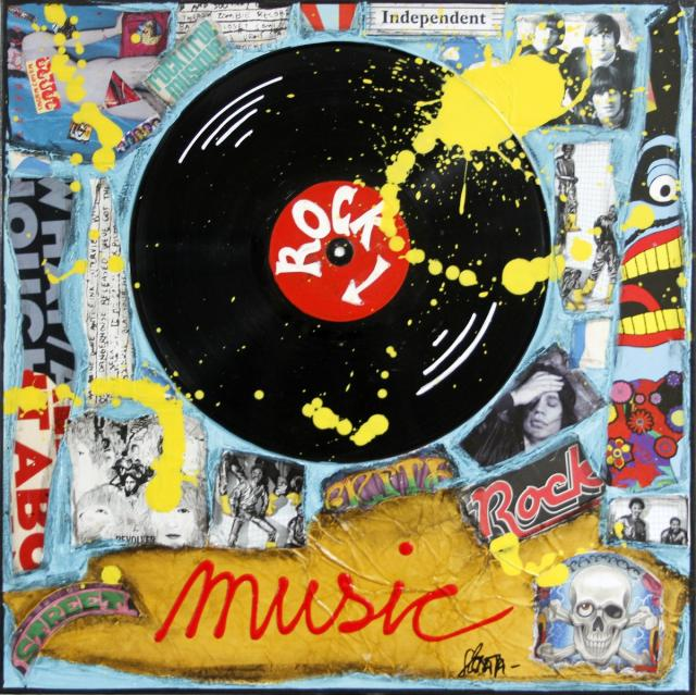 collage, music, vinyle , pop rock Tableau Contemporain, POP ROCK. Sophie Costa, artiste peintre.