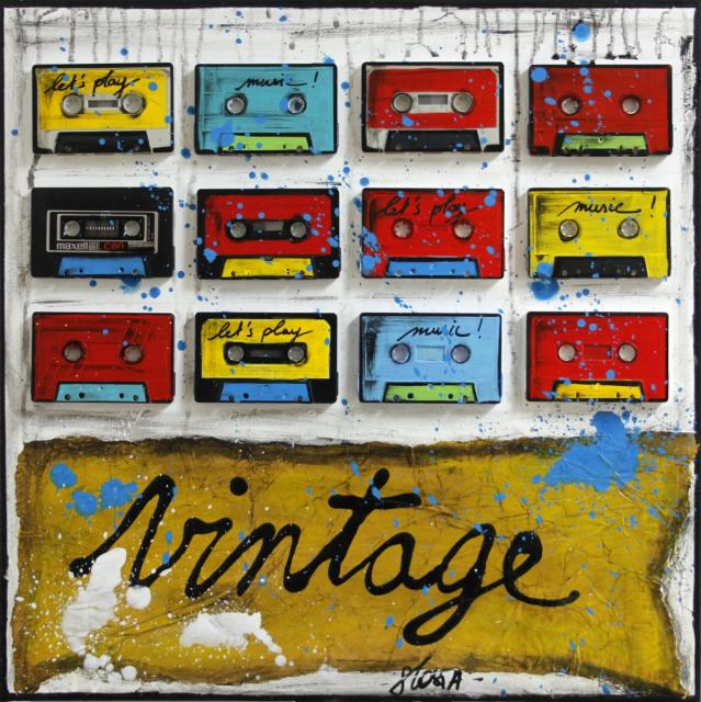 collage, k7, cassettes audio, multicolore Tableau Contemporain, Vintage K7. Sophie Costa, artiste peintre.