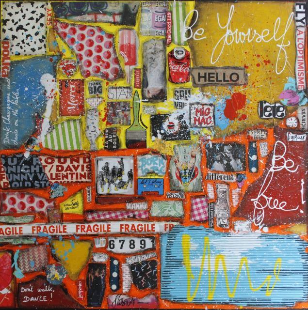 collage, multicolore Tableau Contemporain, Be yourself, Be free !. Sophie Costa, artiste peintre.