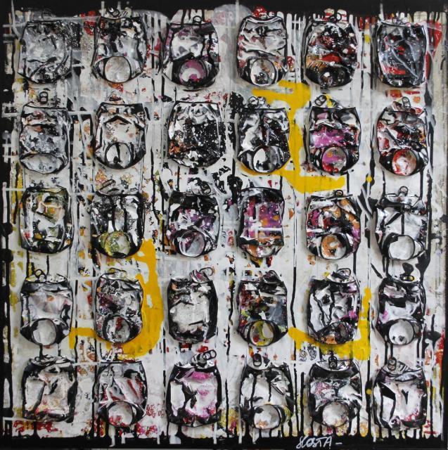 canettes compressées, noir, blanc Tableau Contemporain, Yellow touch. Sophie Costa, artiste peintre.