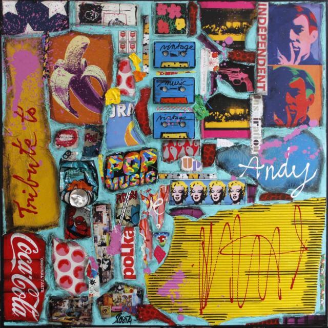 popart, collage, mumticolore Tableau Contemporain, Tribute to Andy. Sophie Costa, artiste peintre.