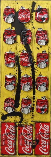 cocacola, collage Tableau Contemporain, JUST COKE. Sophie Costa, artiste peintre.
