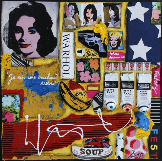 popart, collage, multicolore Tableau Contemporain, WARHOL, icônes américaines. Sophie Costa, artiste peintre.