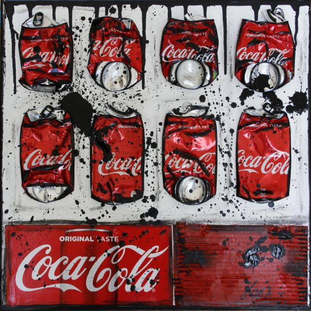 collage, cocacola, rouge Tableau Contemporain, Red Coke. Sophie Costa, artiste peintre.