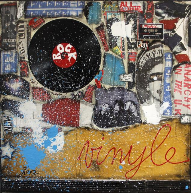 vinyle, music, collage Tableau Contemporain, ROCK VINYLE. Sophie Costa, artiste peintre.
