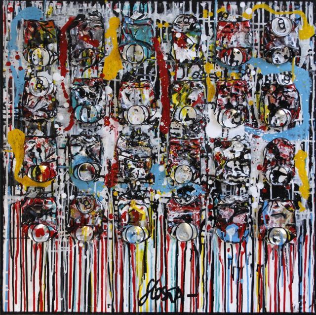 canettes compressées, multicolores Tableau Contemporain, Coke's drips. Sophie Costa, artiste peintre.