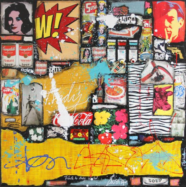 collage, andy warhol, multicolore Tableau Contemporain, ANDY # 2. Sophie Costa, artiste peintre.