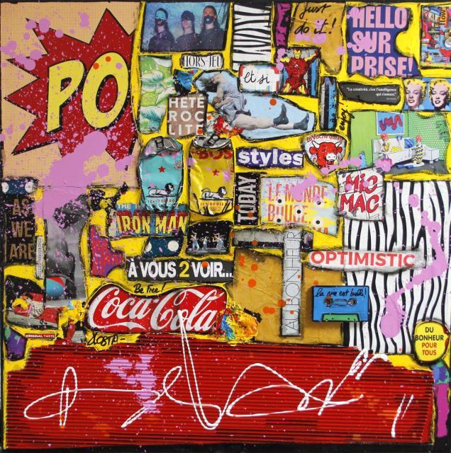 "collage, multicolore Tableau Contemporain, ""Vis ta vie"". Sophie Costa, artiste peintre."
