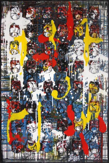 collage, canettes de coac, multicolore Tableau Contemporain, Plein feux. Sophie Costa, artiste peintre.