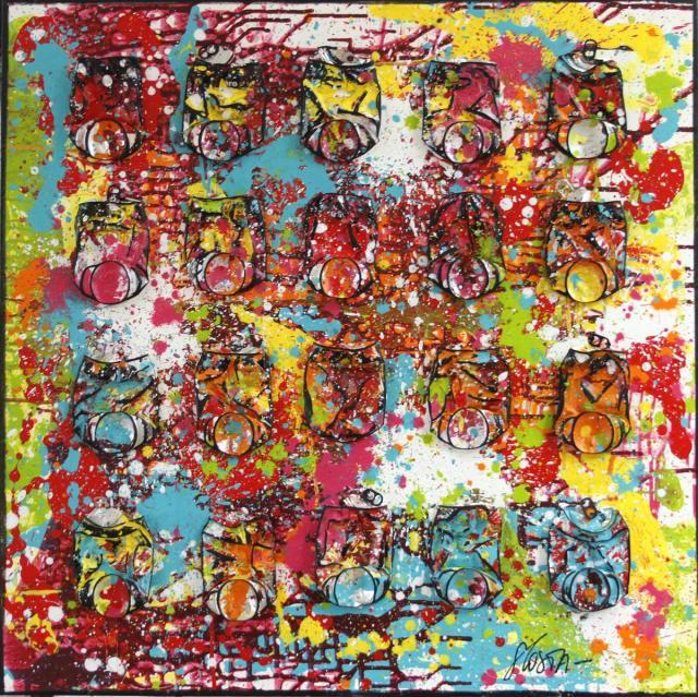 multicolore, canettes de cocacola Tableau Contemporain, FIREWORK. Sophie Costa, artiste peintre.