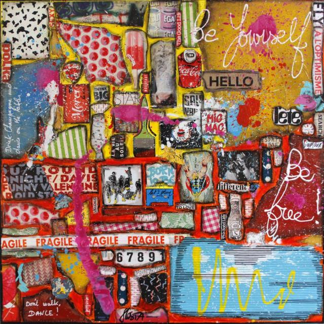 collage, multicolore Tableau Contemporain, Be yourself, Be free !. Sophie Costa, artiste peintre.