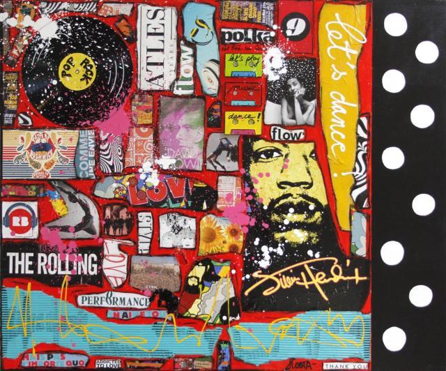 collage, music, danse Tableau Contemporain, Let's dance !. Sophie Costa, artiste peintre.