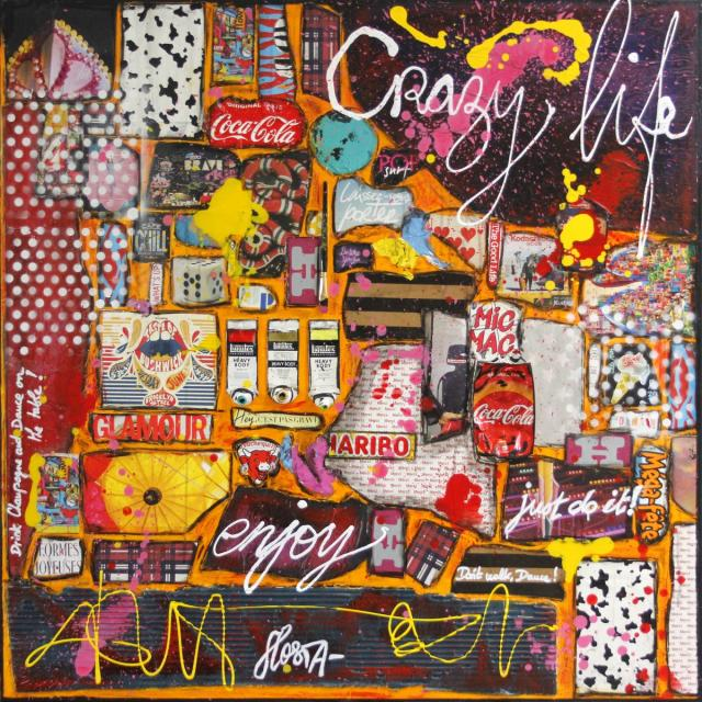 collage, multicolore, crazy Tableau Contemporain, CRAZY LIFE. Sophie Costa, artiste peintre.