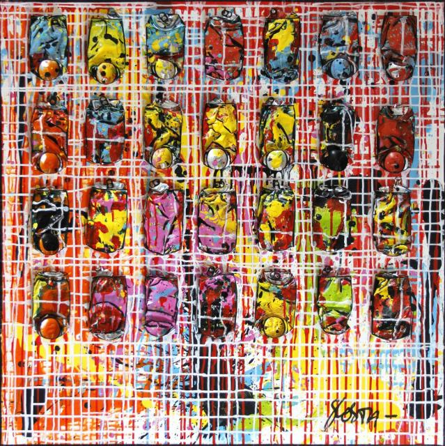 crushed cans, collage, colorful Tableau Contemporain, Can's Network. Sophie Costa, artiste peintre.