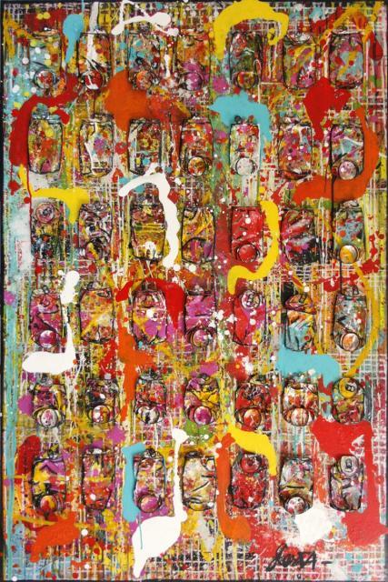 canettes compressées, multicolore, abstrait Tableau Contemporain, Summer is coming.... Sophie Costa, artiste peintre.