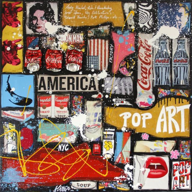 popart, collage, multicolore Tableau Contemporain, POP AMERICA. Sophie Costa, artiste peintre.