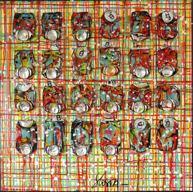 collage, soda, canettes compressées, multicolore Tableau Contemporain, SPRING. Sophie Costa, artiste peintre.