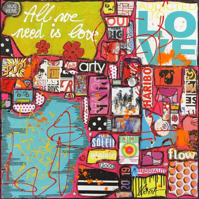collage, multicolore, love Tableau Contemporain, Al we need is love !. Sophie Costa, artiste peintre.