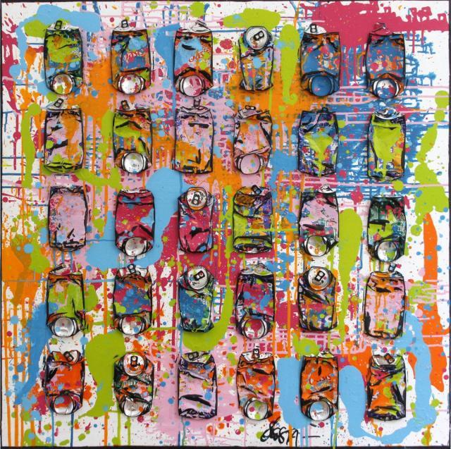 crushed cans, canettes compressées, multicolore, collage Tableau Contemporain, Spring is coming. Sophie Costa, artiste peintre.