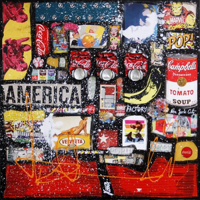 multicolore, collage, pop art Tableau Contemporain, POP AMERICA # 2. Sophie Costa, artiste peintre.