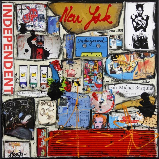 collage, basquiat Tableau Contemporain, Independent . Sophie Costa, artiste peintre.