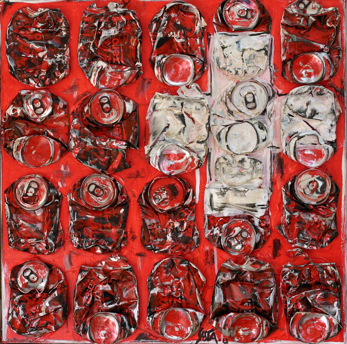 SWISS COKE: Toile abstraite, collage cannettes