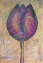 Tableau Tulipe violette : Artiste peintre Sophie Costa