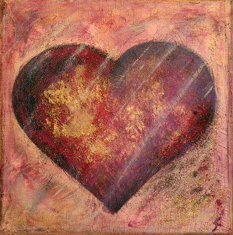 Tableau Contemporain, Coeur brique. Sophie Costa, artiste peintre.
